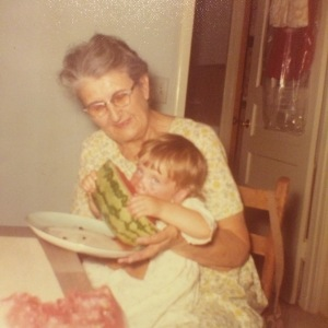 Helen Mexico Bowers and I, circa 1973. Watermelon is everything